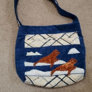Vintage seal and sea lion purse with pockets 1960s